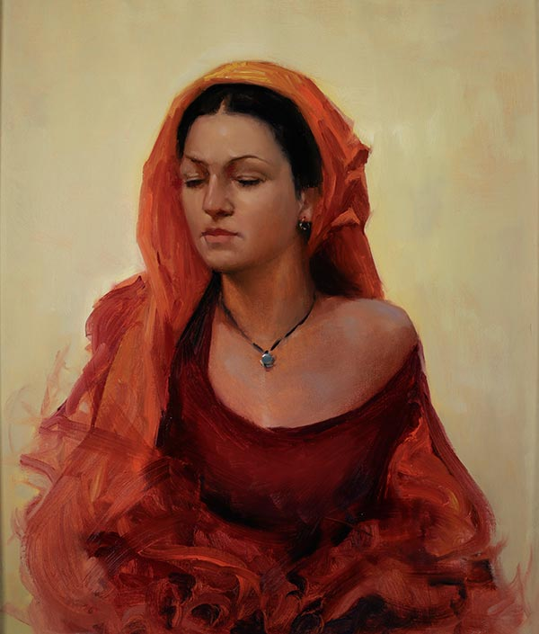 women-red-dress-painting