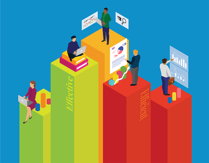 Marketing professionals deciphering analytics to help them determine the impacts of effective and efficient marketing strategies